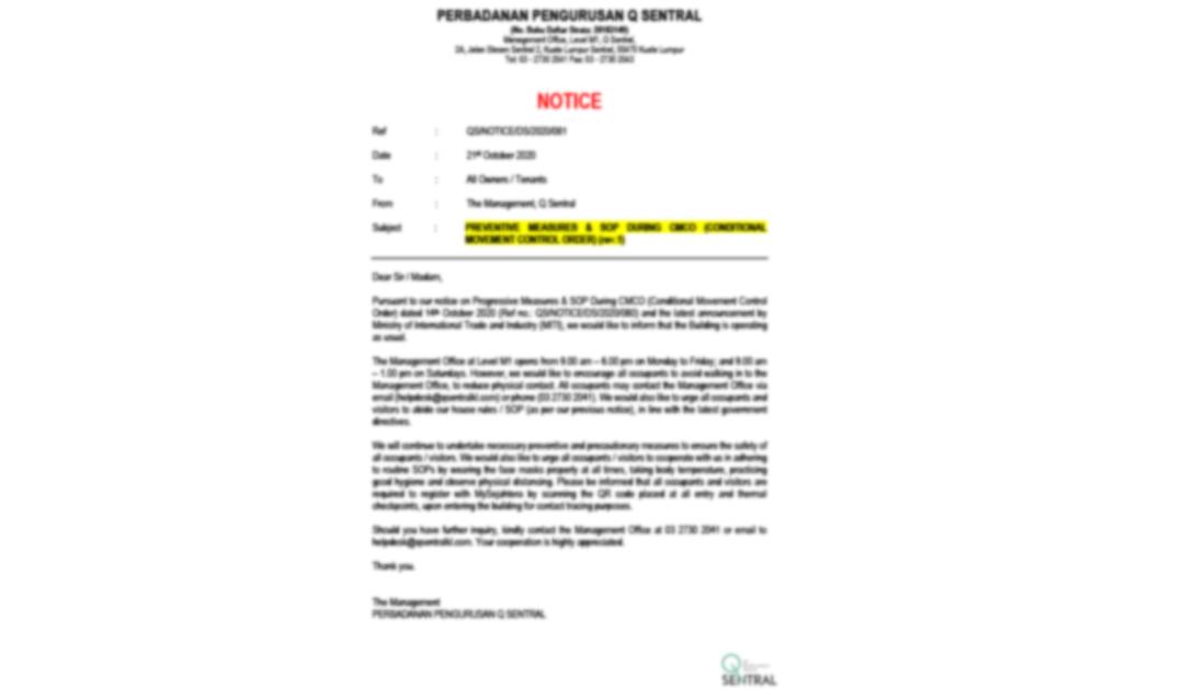 Preventive Measure & SOP During CMCO (rv.1)